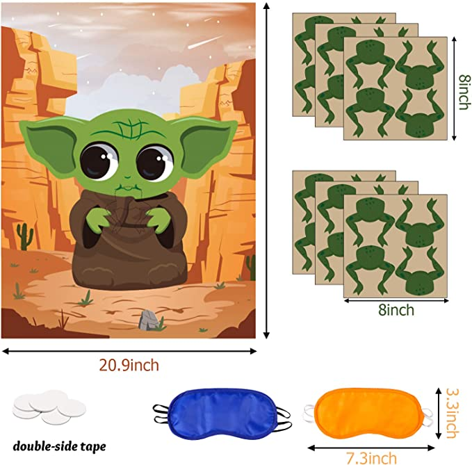 Includes 2 Blindfolds Animal Stickers Game Themed Pin The Tail Party Supplies The Poster Birthday Collection Favor Baby Shower Game Background Accessories for Kids