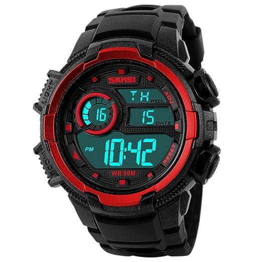SKMEI - Reloj Deportivo Digital con Doble Horarios Movimiento Resistente al Agua para Chicos Hombres Reloj Multifunciones Alarma Cronómetro Calendario ...