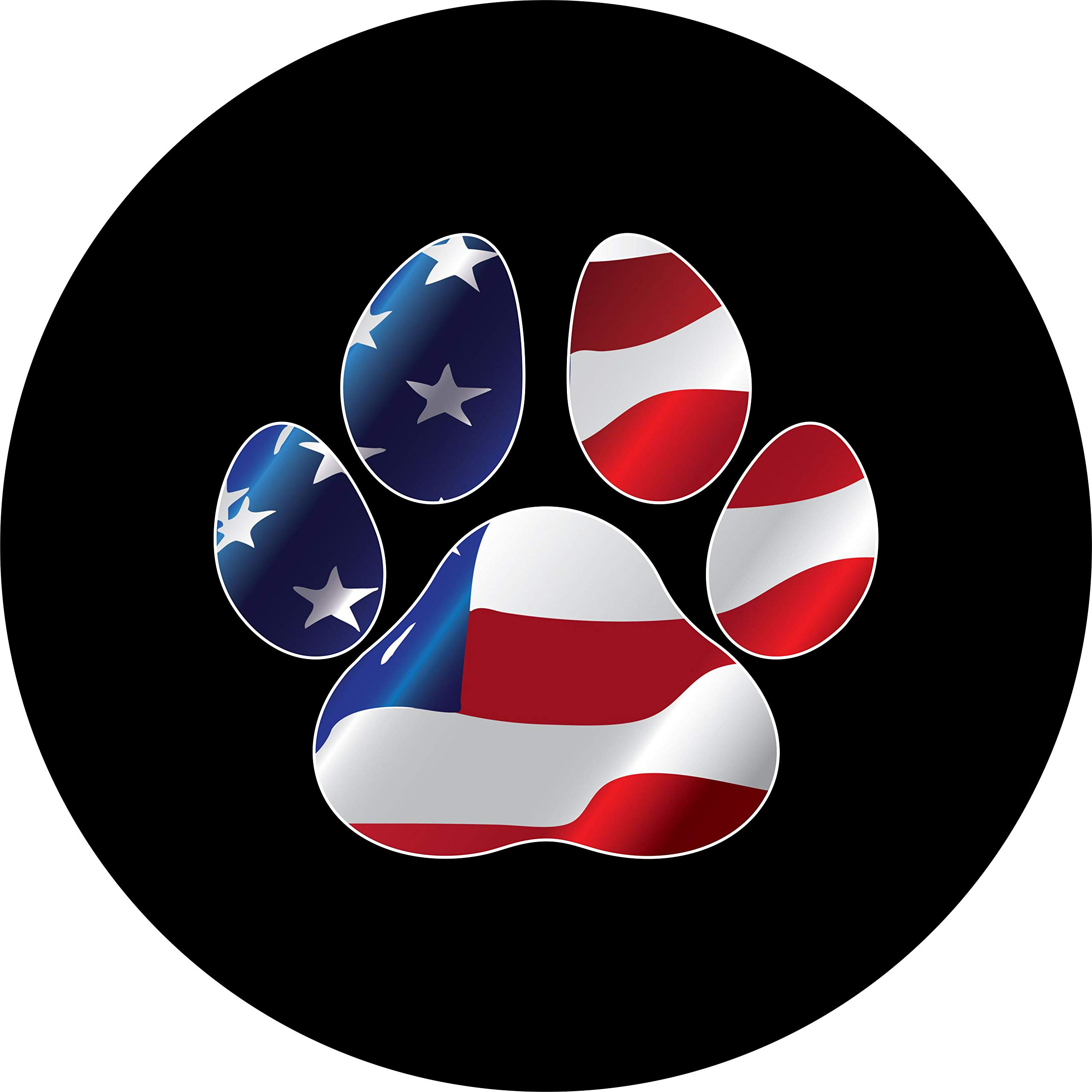 TIRE COVER CENTRAL Paws with US American Flag Spare Tire Cover for 255/70R18 fits Camper, Jeep, RV, Scamp, Trailer(Drop Down Size menu