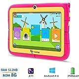 Yuntab Kids Tablet Q88R 7 Inch Allwinner A33,1.5Ghz Quad Core Android 4.4 Tablet PC,512MB+8GB,HD 1024x600,Dual Camera,WiFi,Bluetooth,3D Game,TF Card,Support Parental Control Software - iWawa(Pink)