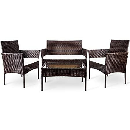Herman 4 PCs Outdoor Rattan Patio Furniture Modern Wicker Conversation Sofa-Set with Cushioned Loveseat Armchairs Glass Top Coffee Table Perfect for Garden Lawn Pool Backyard, Large, Brown