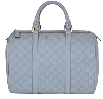 6bce7128b3c229 Amazon.com: Gucci Women's 265697 Light Blue Leather GG Guccissima Boston  Purse: Shoes