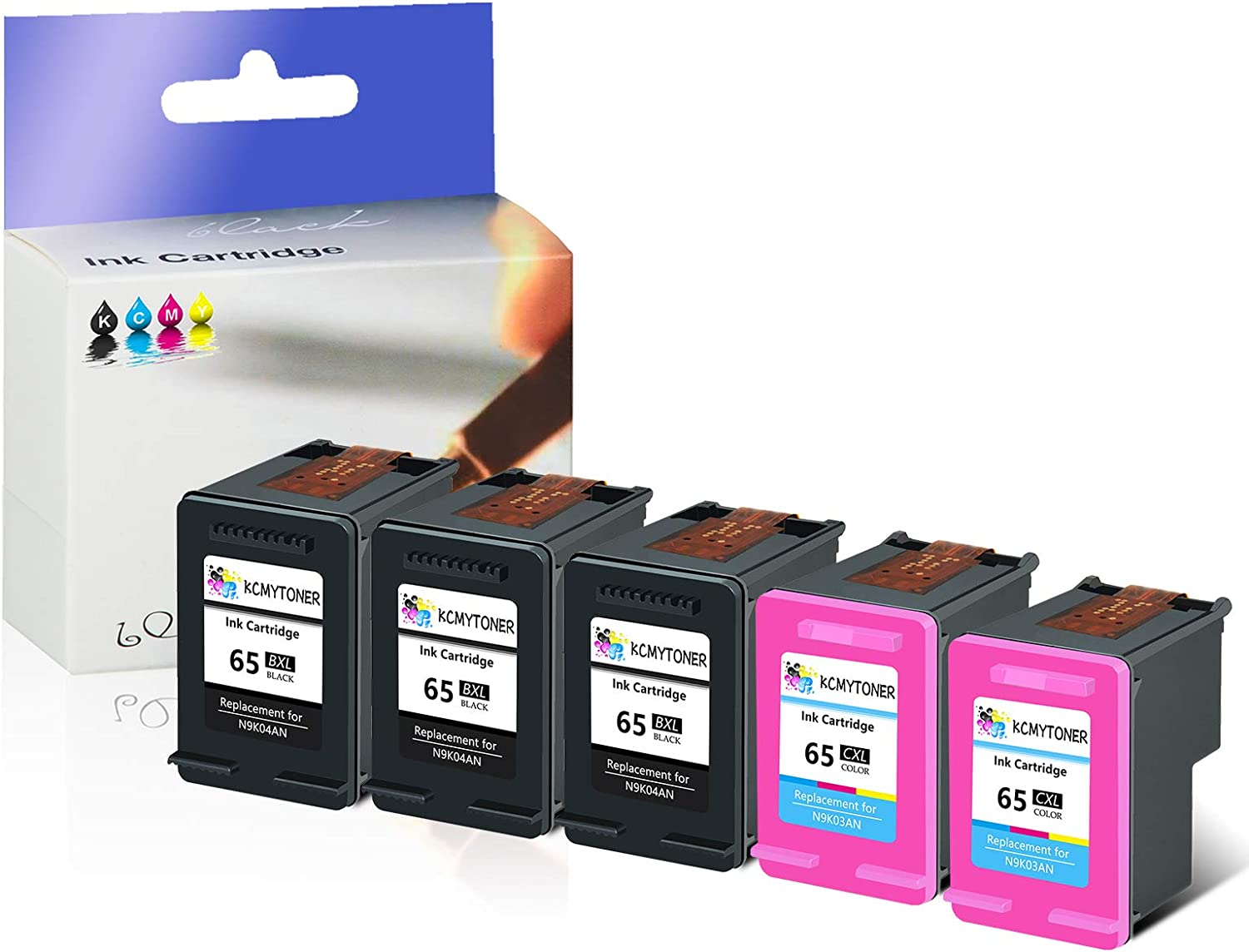 3 Black 2 Tri-Color KCMYTONER Remanufactured 65 XL 65XL N9K04AN N9K03AN Ink Cartridge Compatible for HP Envy 5052 5055 5058 Deskjet 2624 2652 2655 3720 3730 3752 3755 with Latest Chip Show Ink Level