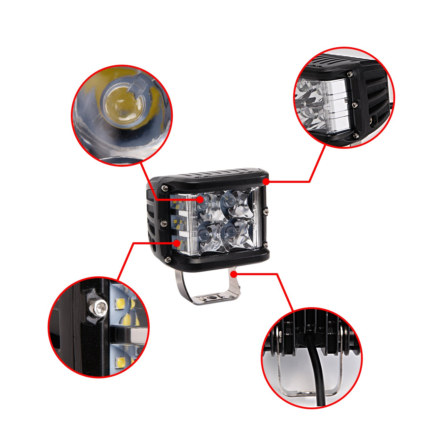 1 Year Warranty Bangbangche 2X 5inch 80W 4D Combo Square Led Bar Jeep Off Road Lights for Boat Truck Tractor Trailer ATV SUV 4X4