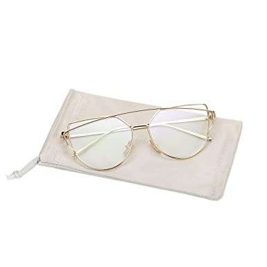 pro acme new fashion premium cat eye clear lens glasses frame non prescriptiongold