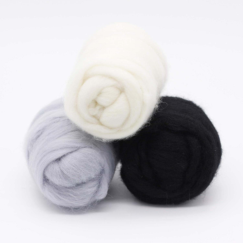 DIY Craft Materials Needle Felting Wool Roving Top Black-3.5OZ