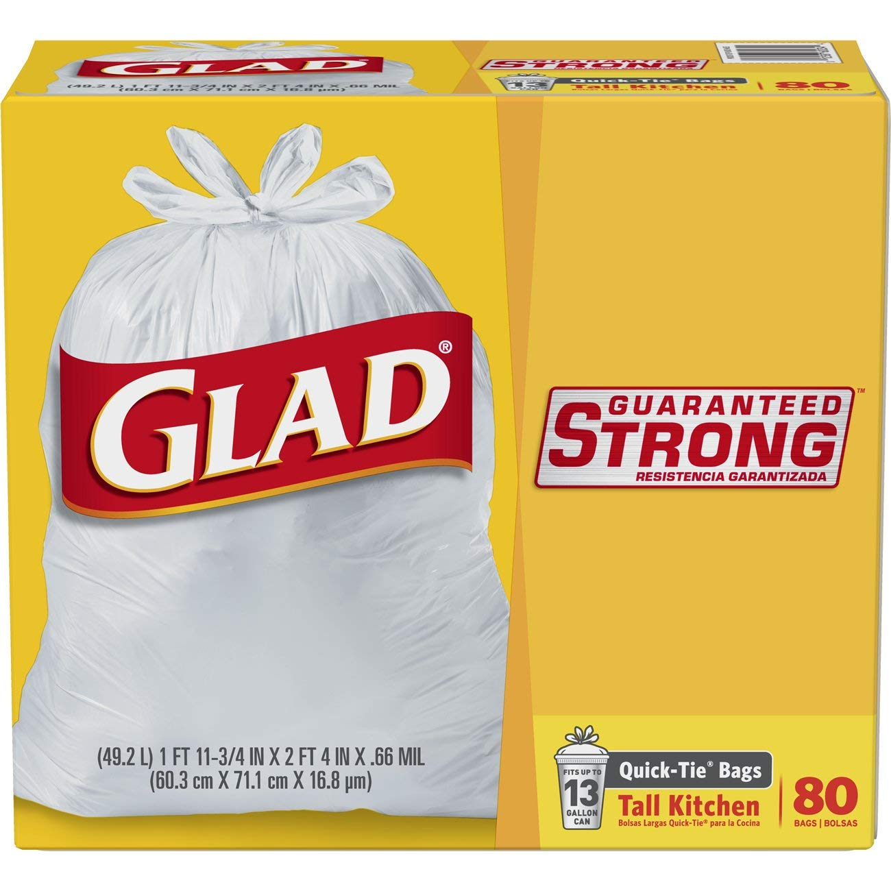 Glad Tall Kitchen Quick-Tie Trash Bags - 13 Gallon White Trash Bag – 80 Count