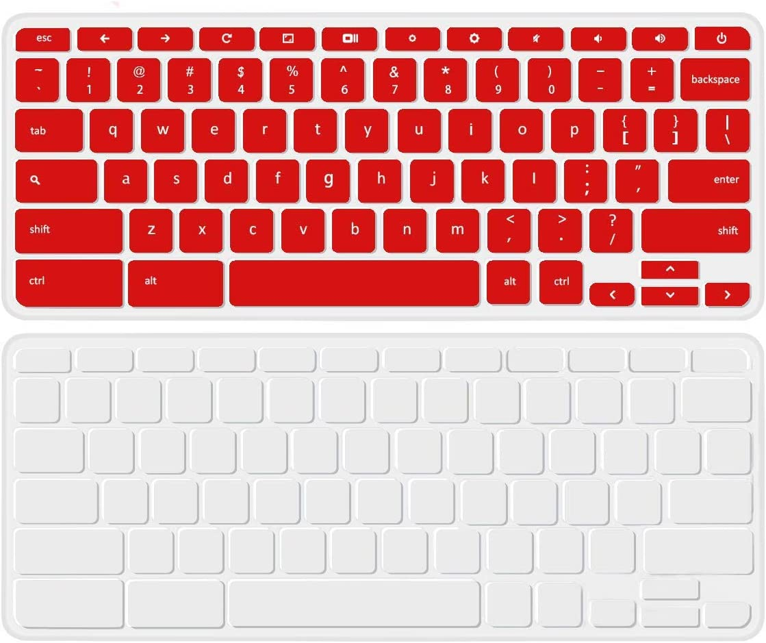[2 Pack] Keyboard Cover for Acer 14 Premium Flagship Business Chromebook, Acer Chromebook 14 CB3-431 CP5-471 14 inch Chromebook Protective Skin,Clear+red