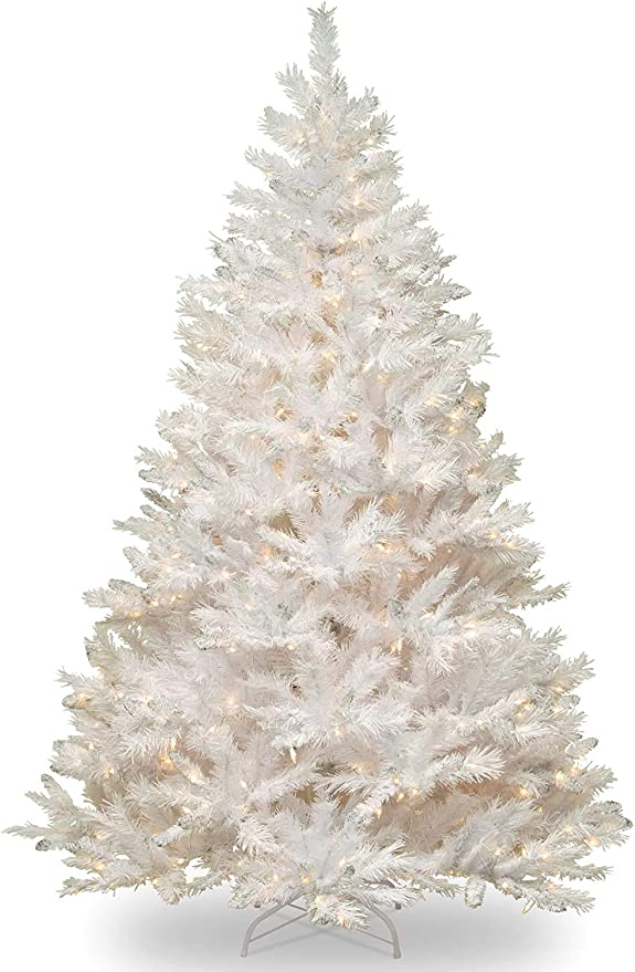 Amazon Com National Tree Company Pre Lit Artificial Christmas Tree Includes Pre Strung White Lights And Stand White With Silver Glitter Winchester White Pine 7 Ft Home Kitchen