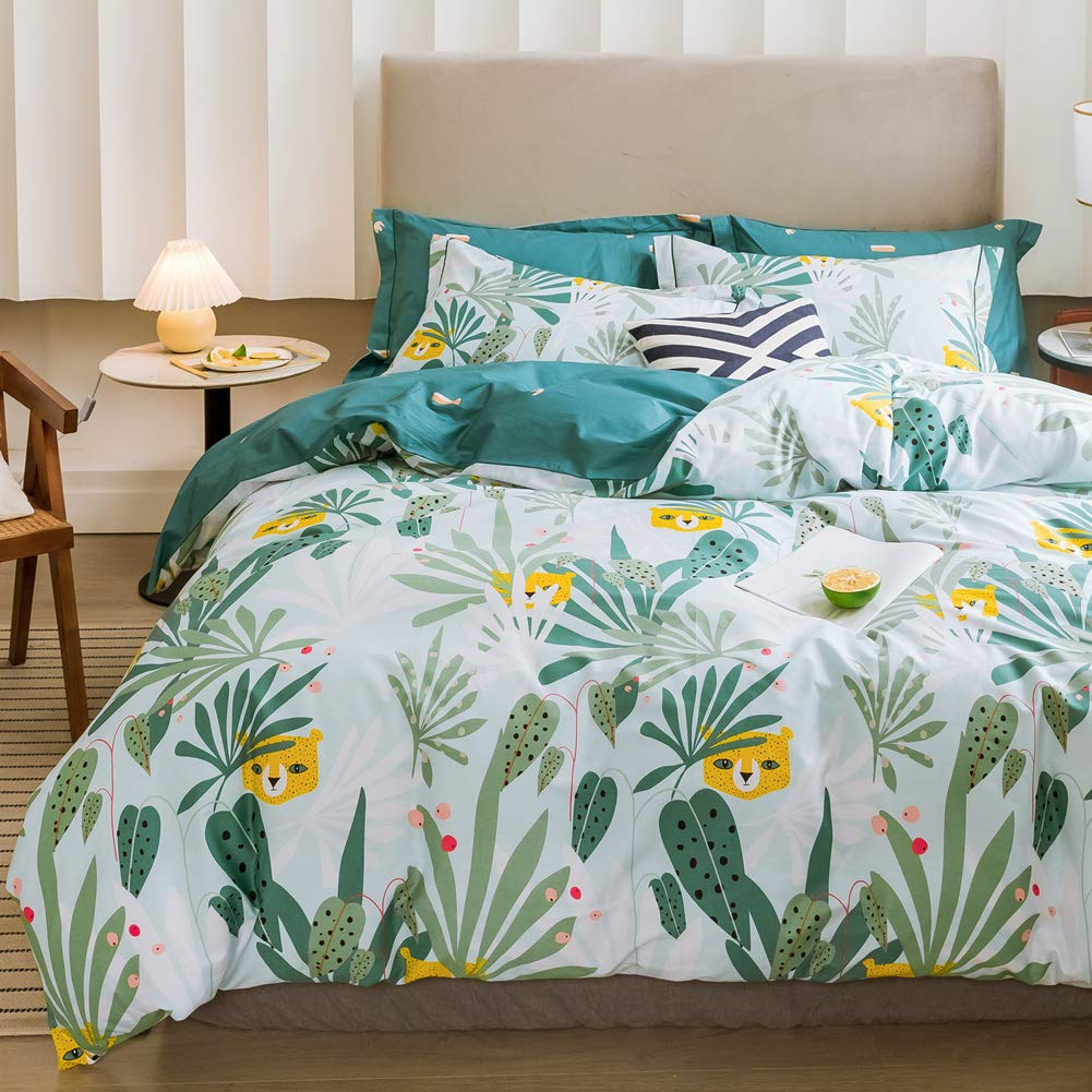 LAYENJOY Jungle Green Duvet Cover Set Twin, 100% Cotton Bedding, Leaves Tropical Rainforest Leopard Pattern Printed Reversible, Forest Cheetah Animals Comforter Cover for Kids Single Bed, No Comforter