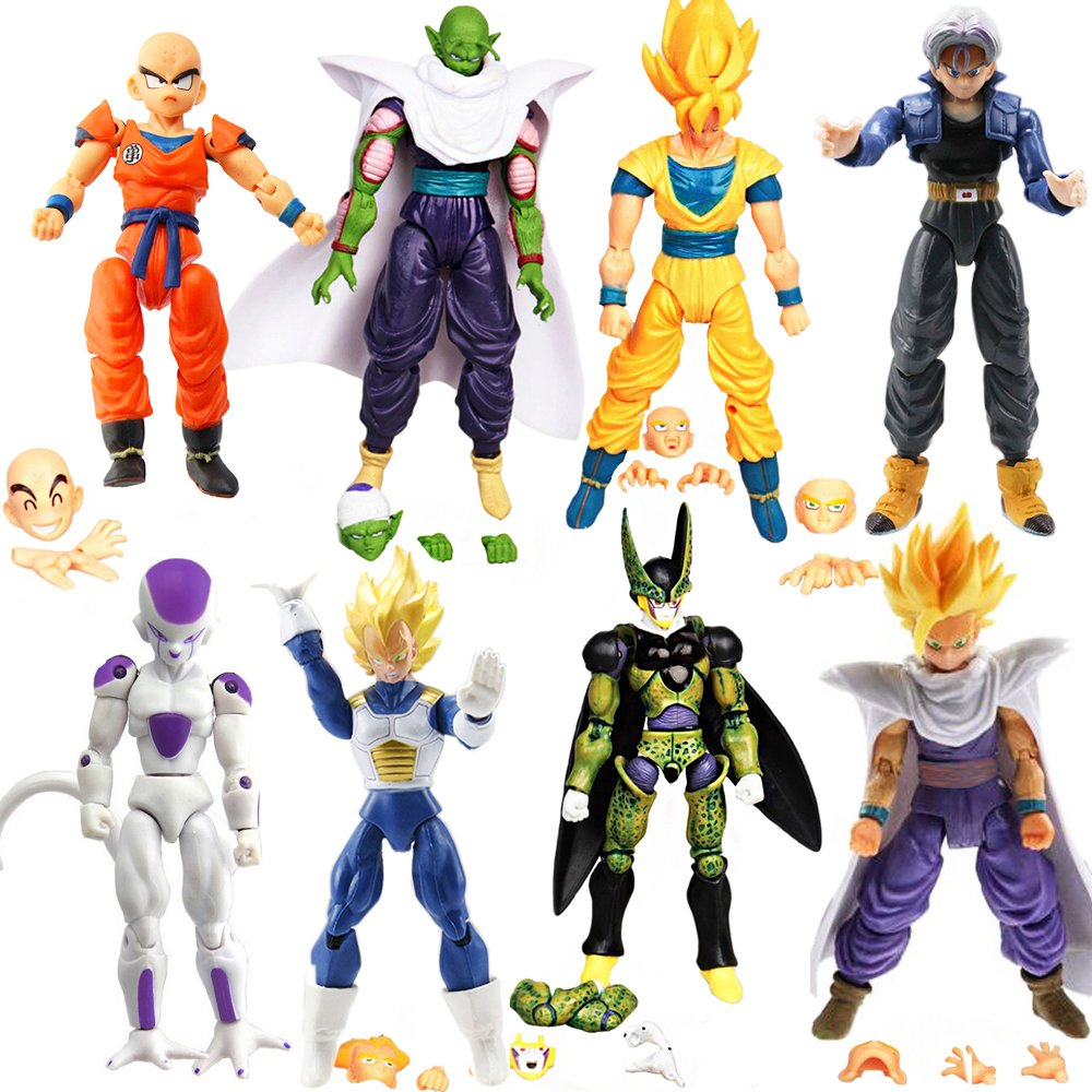 L'OGA Dragon Ball Z 8pcs Set Dragon Ball DBZ 5  Anime Goku Vegeta Piccolo Gohan Super Saiyan Joint Movable Action Figure Toys