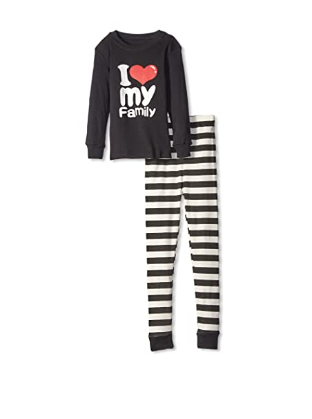 "Elowel ""I Love Family"" 2 piezas Set de pijamas 100% algod?"