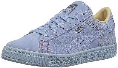 63fa83b2bb246e PUMA Unisex Suede Classic Peach Basket Kids Sneaker Cerulean-Whisper  White-Pebble 1 M