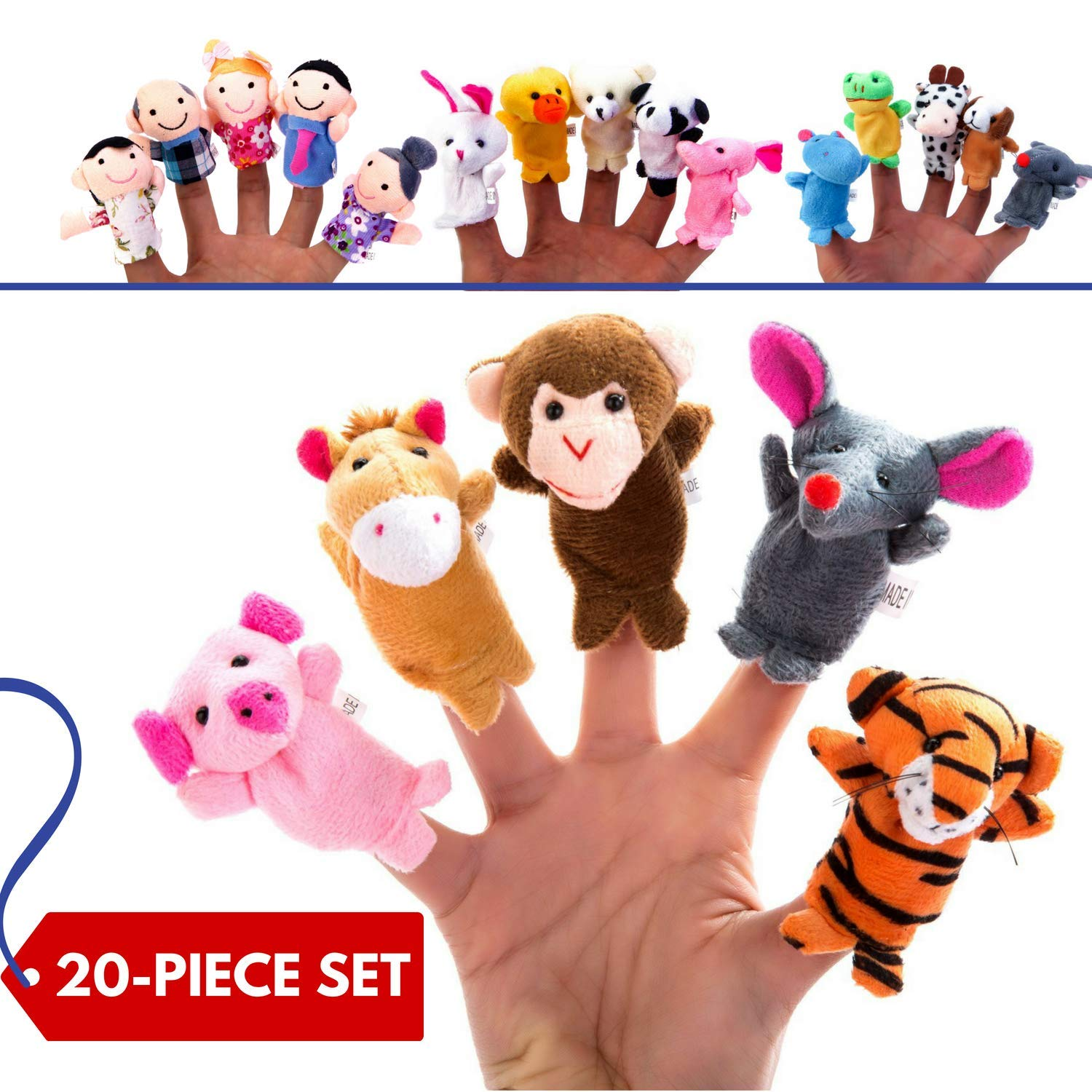 BETTERLINE 20-Piece Story Time Finger Puppets Set - Cloth Velvet Puppets - 14 Animals and 6 People Family Members Better Line ®
