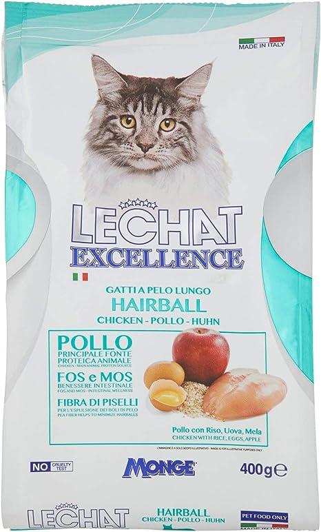 MONGE LE CHAT EXCELLENCE HAIRBALL Alimento seco para gatos adultos que contiene pollo y salmón deshidratados, proteína, fibra y grasas saludables, ...