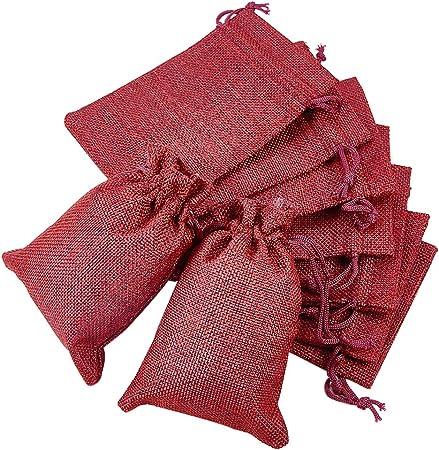 Imagen deBENECREAT 30 PCS Bolsas de Arpillera con Cordón Envase de Regalo Color de Rojo Oscuro para Fiesta Boda y Almacenamiento de Cosas Pequeñas 14.3x10.5cm