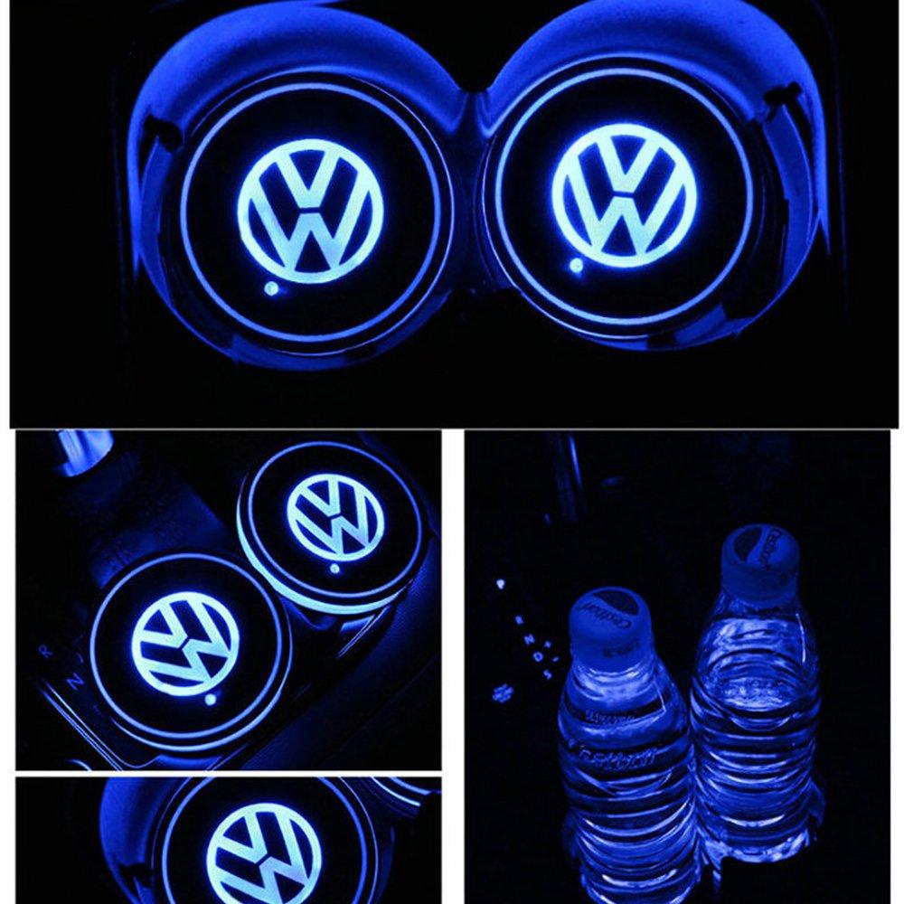 車用 LED ドリンクホルダー レインボーコースター 車載 ロゴ ディスプレイライト LEDカーカップホルダー マットパッド (Volkswagen) B079BKGVDH Volkswagen Volkswagen