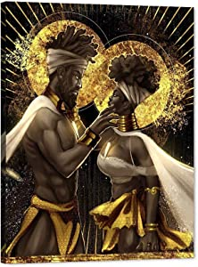 """African King and Queen Canvas Wall Art, Black Art Paintings for Wall, King & Queen Crowns Poster for Adult Bedroom Decor, African Lovers Picture Contemporary Framed Wall Art for Living Room(30""""W40""""H)"""