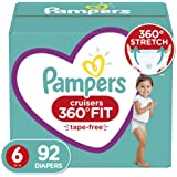 Pampers Diapers Size 6 - Cruisers 360˚ Fit Disposable Baby Diapers with Stretchy Waistband, 92 Count ONE Month Supply