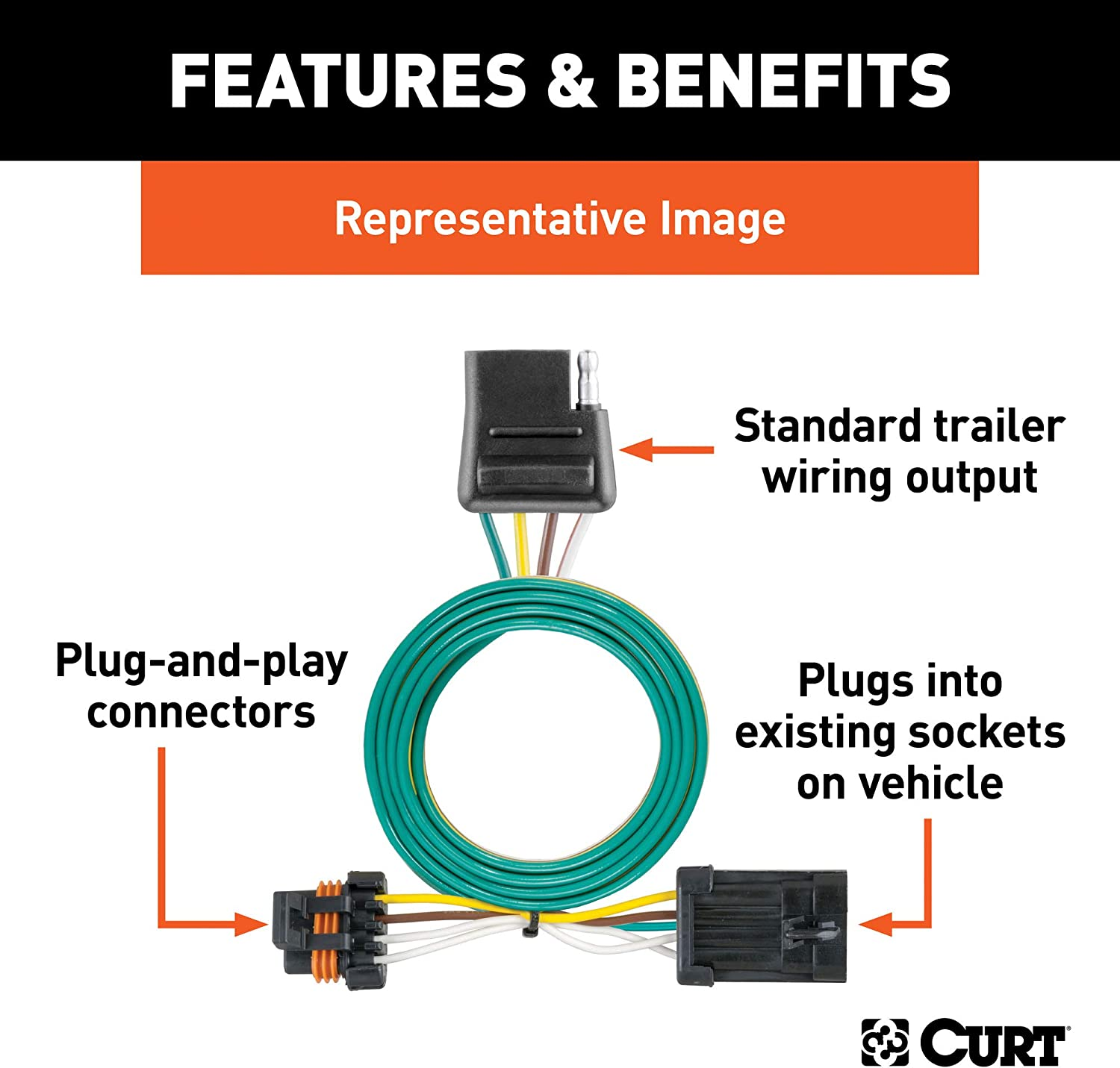 [TBQL_4184]  CURT 55315 Vehicle-Side Custom 4-Pin Trailer Wiring Harness for Select  Chevrolet GMC Pickup Trucks | Chevrolet Trailer Wiring Harness |  | Sportzone