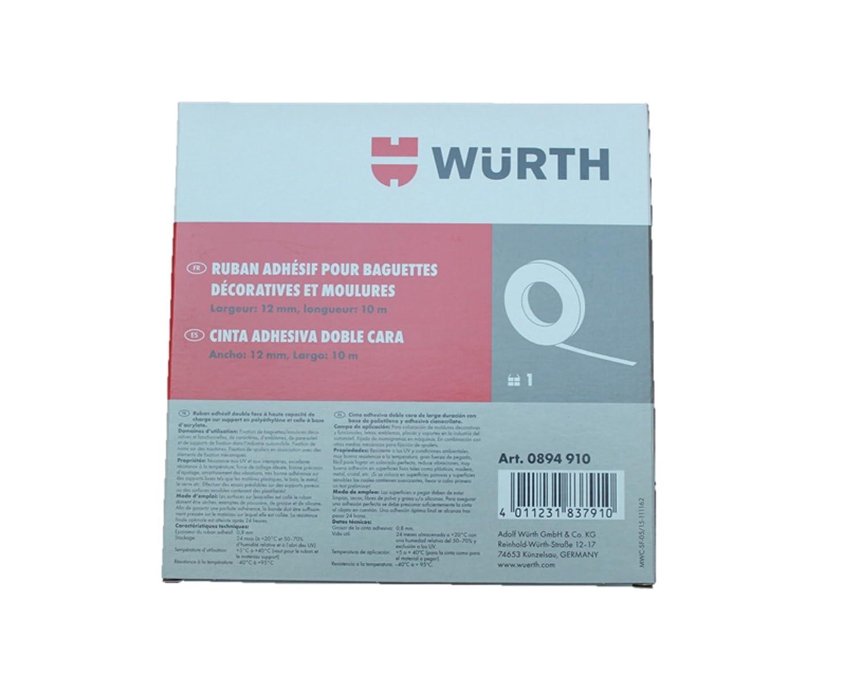 Würth Moldura cinta adhesiva, Ancho 12 mm/Longitud 10 M, cinta adhesiva con tirantes polietileno & Acrílico atkleber| fijar listones de & Función de adorno, ...