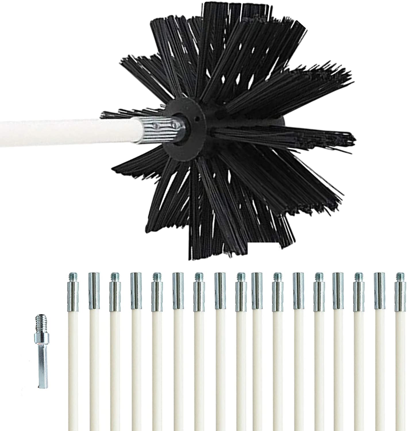 Dryer Vent Cleaning Kit -(24-Feet) Highly Effective Lint Remover Reusable Strong and Flexible Lint Brush with Bonus Drill Adapter Included for Faster Lint Removal. Use with Or Without Drill