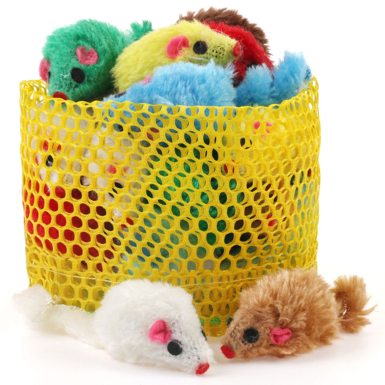 Chiwava 24PCS 4.1'' Furry Cat Toy Mice Rattle Small Mouse Kitten Interactive PlayAssorted Color