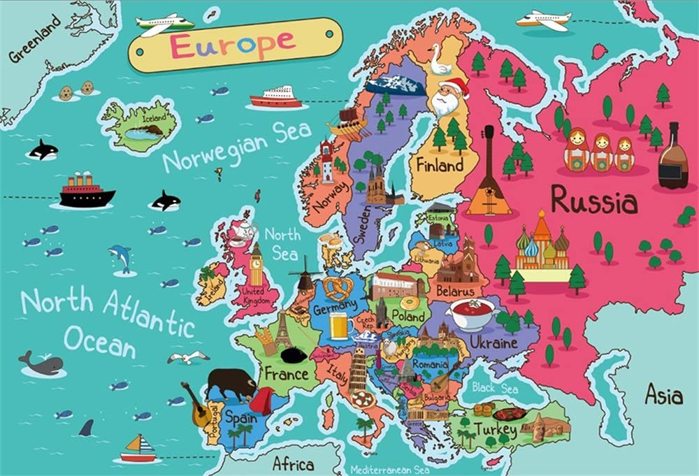 Amazon Com Lfeey 7x5ft Europe Map Backdrop For Photography Cartoon Drawing Kids Students Geography Education Continent Wallpaper Background Cloth Vinyl Photo Studio Props Camera Photo