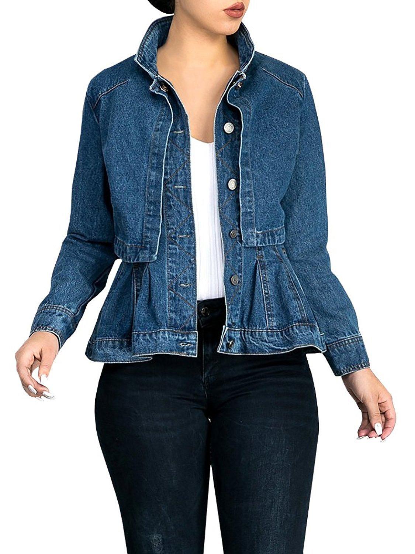 Fashare Womens Denim Jean Jacket Peplum Frill Slim Fit Classic Trucker Coat