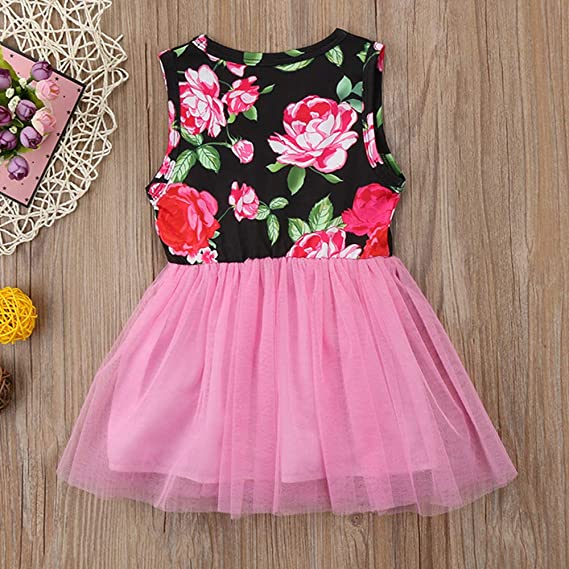 Baby Girls Clothes 1st Birthday Tutu Dress Sleeveless Floral Lace Skirt Outfit Set