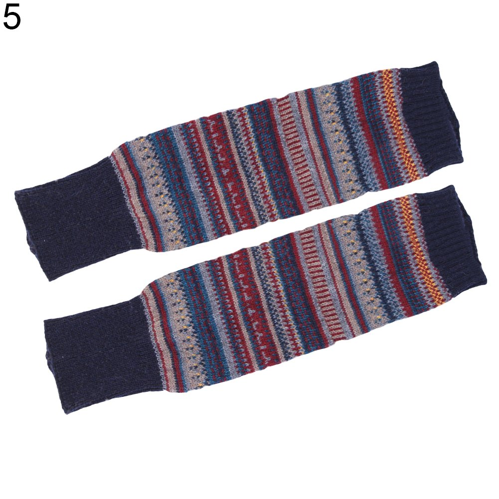 Acamifashion Women Striped Ethnic Knitting Wool Footless Leg Warmers Knee High Boot Socks