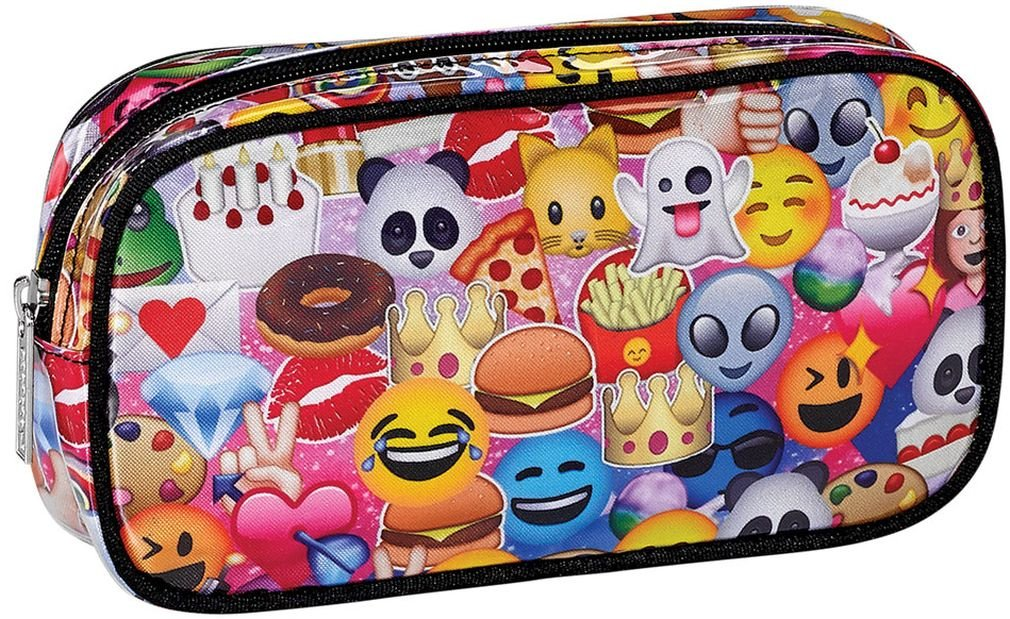 iscream 'Emoji Collage' 8.5'' x 4.5'' Bold Print Zippered Cosmetic Bag