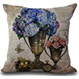 "Cotton Linen Vintage Flower Home Decorative Indoor/Outdoor Throw Cushion Cover 18""18"""