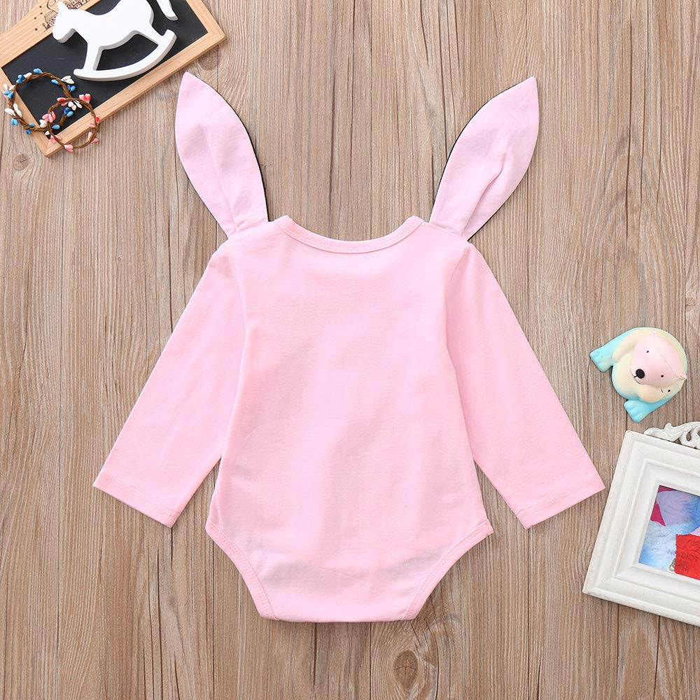 Theshy Toddler Infant Baby Girls Boys Cartoon Rabbit Ear Hooded Romper Jumpsuit Outfits Long Sleeve Outfit Clothes
