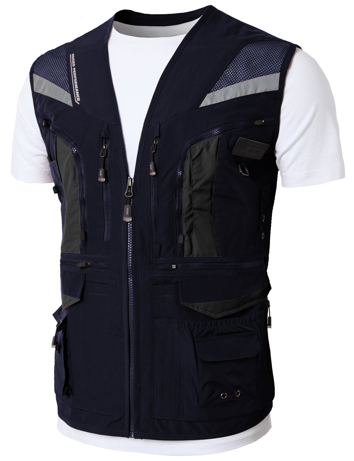 H2H Mens Casual Work Utility Hunting Fishing Vest Travels Sports Mesh Jacket with Multi-Pockets Navy US L/Asia XL (KMOV0144)