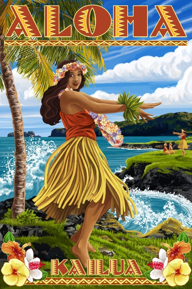 Aloha Kailua、ハワイ – Hula Girl on Coast 12 x 18 Art Print LANT-57048-12x18 B07366NMHY  12 x 18 Art Print