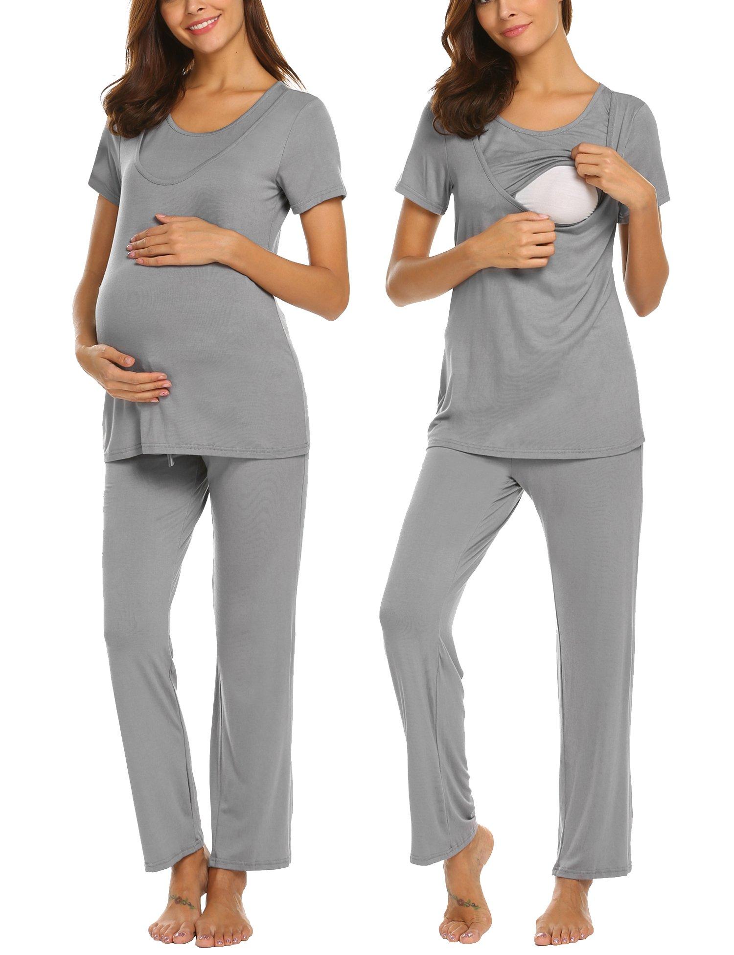 MAXMODA Woman Cotton Nursing Sleep Set for Breastfeeding Short Sleeve