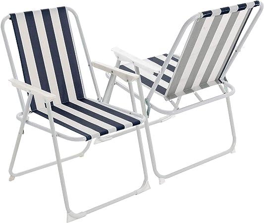 Harbour Housewares Silla Plegable - Ideal para Playa o acampadas - Rayas Azules - Pack de 2