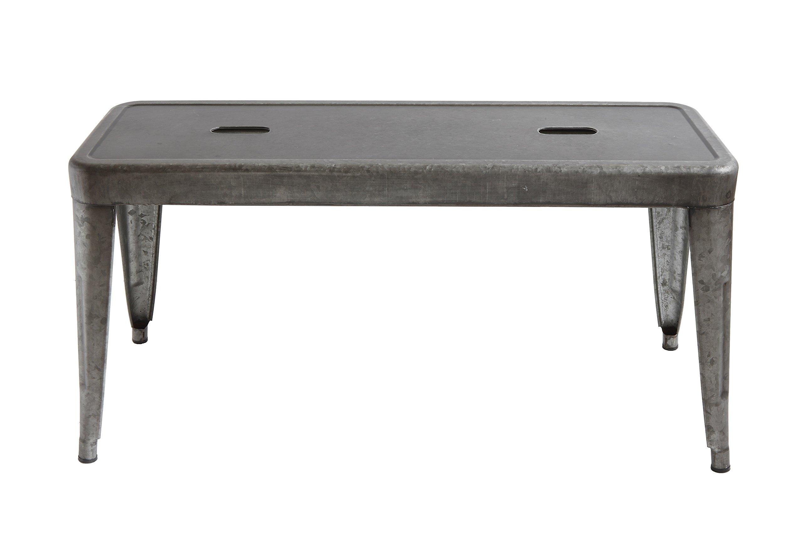 Creative Co-op DA7817 Grey & Brown Galvanized Metal Bench, Grey by Creative Co-op