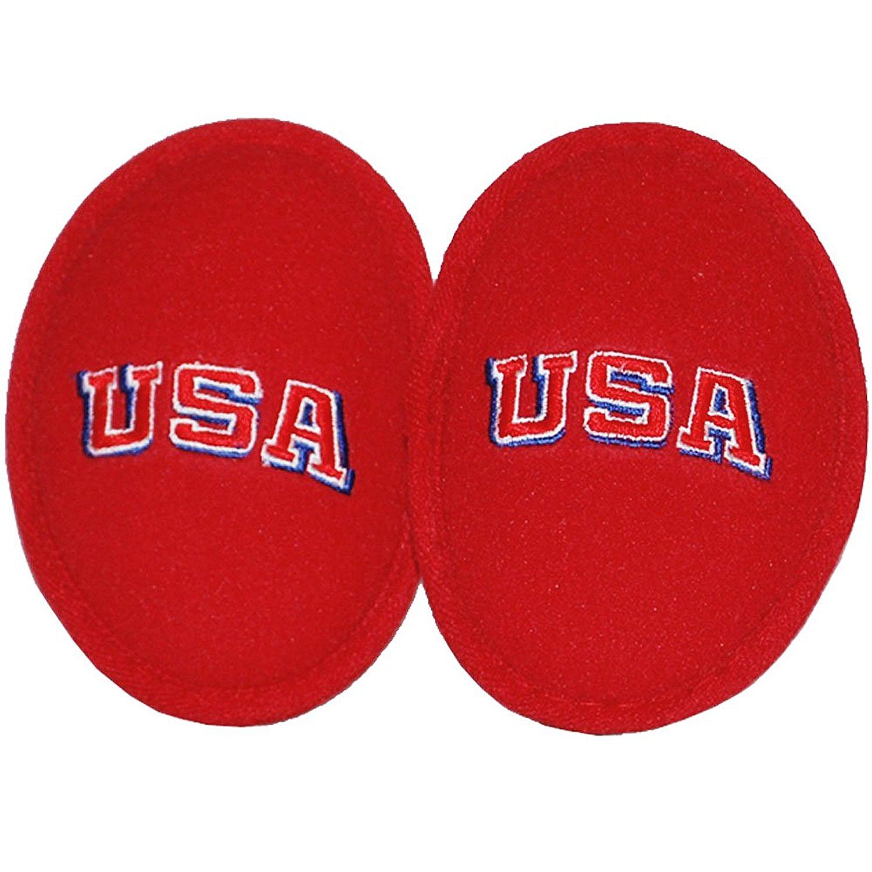 Ear Mitts Bandless Ear Muffs, Red Fleece Ear Warmers W/USA Embroidery, Regular