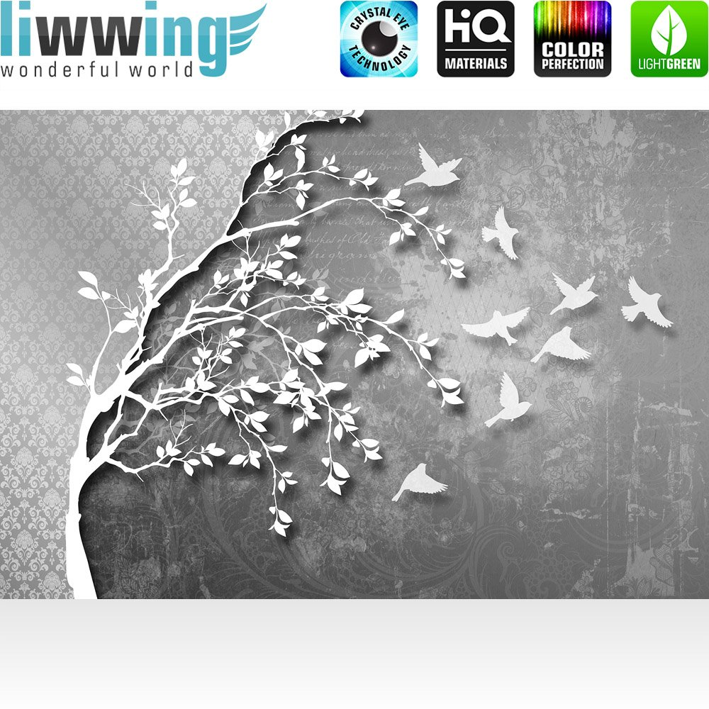 Vlies Fototapete 312x219cm PREMIUM PLUS Wand Foto Tapete Tapete Tapete Wand Bild Vliestapete - Illustrationen Tapete Baum Illustration Vögel Ornamente grau - no. 1786 bb5072