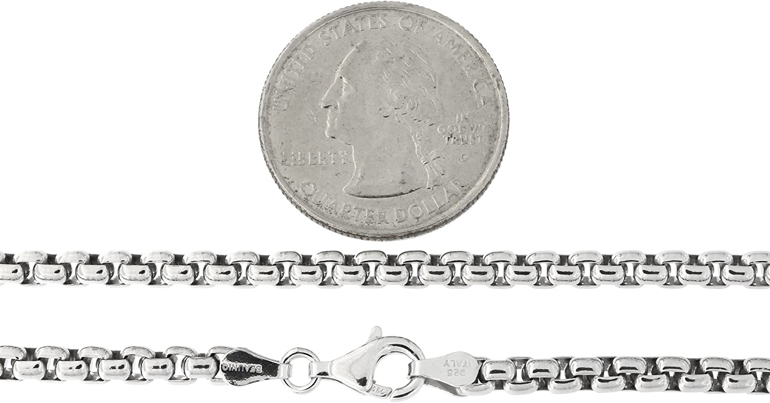 Mens Solid Sterling Silver Rhodium Plated 3.75 Millimeters Round Box Chain Necklace