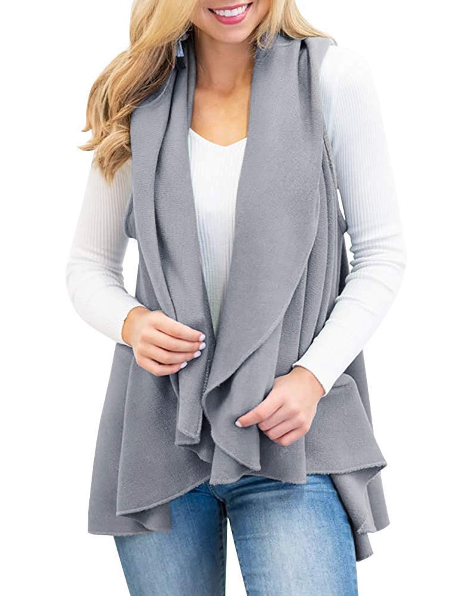 Romanstii Womens Fashion Lapel Open Front Sleeveless Plaid Casual Vest Cardigan Jacket with Pocket