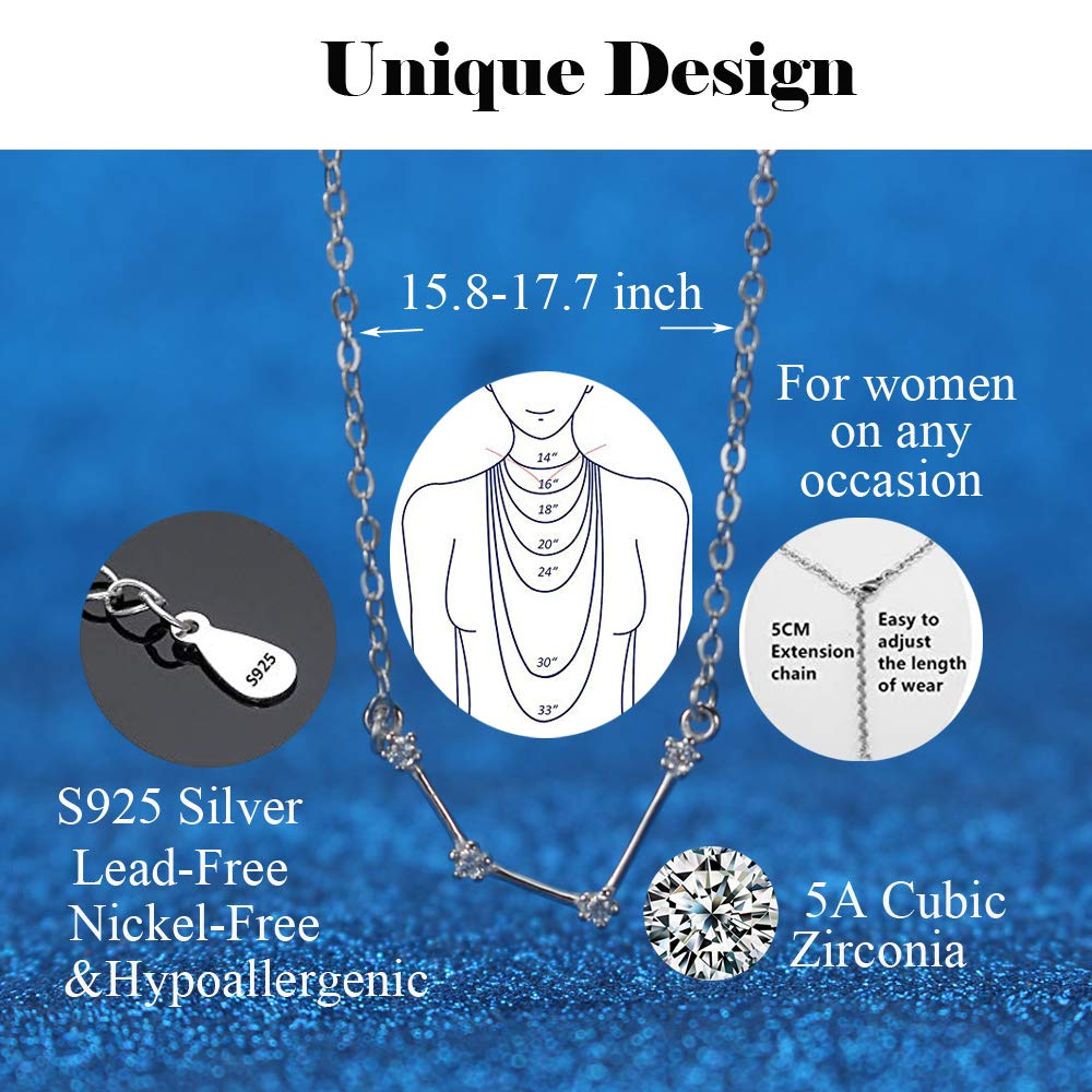 Amazon.com  H.ZBRUJ Zodiac Jewelry Aquarius Pendant Necklace for Women 12 Horoscope  Astrology 925 Sterling Silver Constellation Choker Gift for Birthday . 26236f8f4a6d