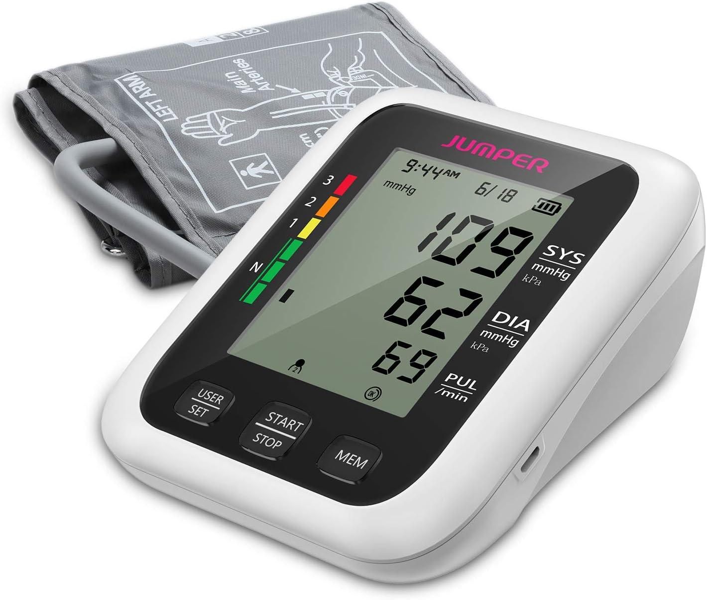 Monitor de Presión Arterial JUMPER en la Parte Superior del Brazo, 2 Usuarios, 2 Módulos de Fuente de Alimentación, 198 Memoria de datos, Gran pantalla LCD, Brazalete Ajustable Grande (Negro-b)