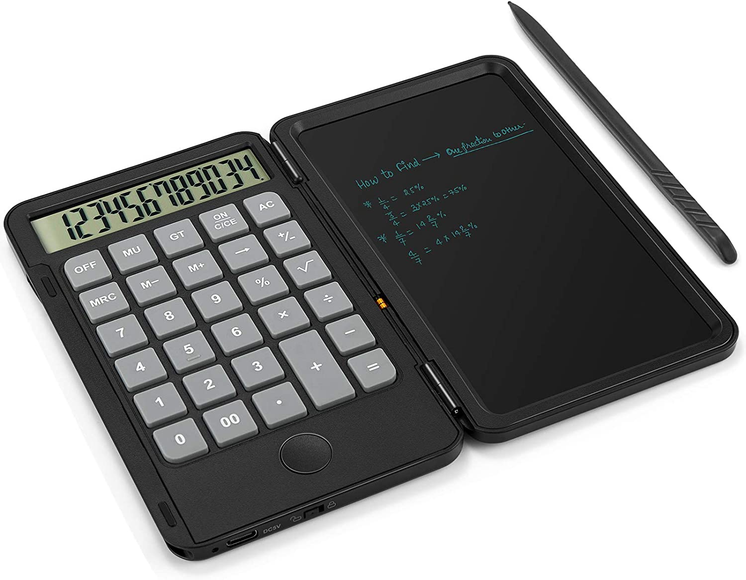 AAGES Calculator, Standard Function Desktop Calculator with 6.5 Inch LCD Writing Tablet for Daily and Basic Office, Black