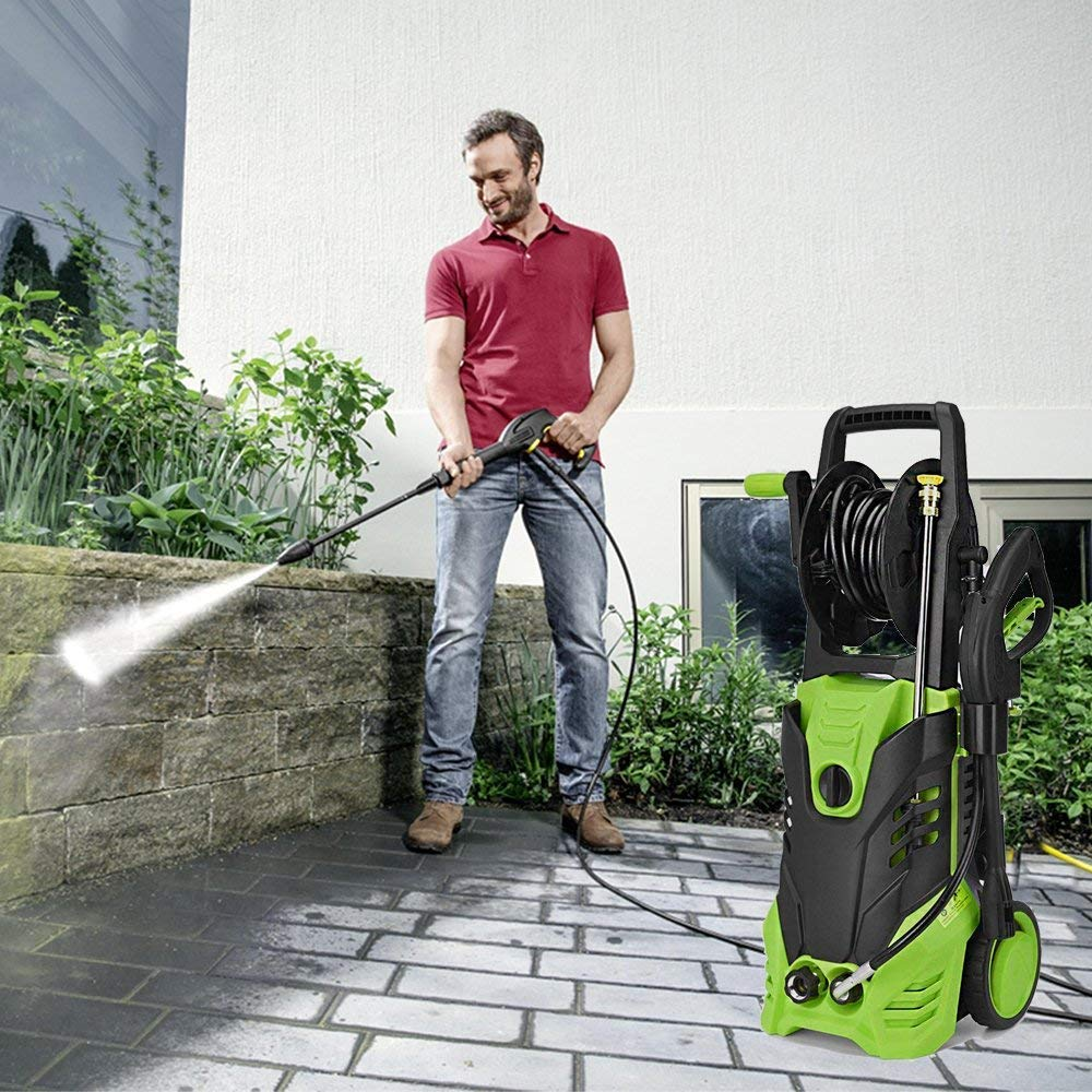 Homdox Electric Pressure Washer, 3000 PSI High Power Washer, Professional Washer Cleaner Machine with 5 Interchangeable Nozzles, 1800W Rolling Wheels,1.80 GPM