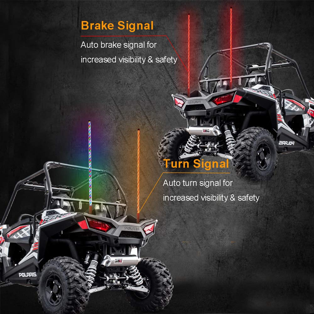 1.5M Road Vehicle ATV UTV RZR Jeep Trucks Dunes. Bluetooth Control 360/° Sprial LED Whips Light With Dacning//Chasing Light LED Antenna Light For Off Beatto 5FT