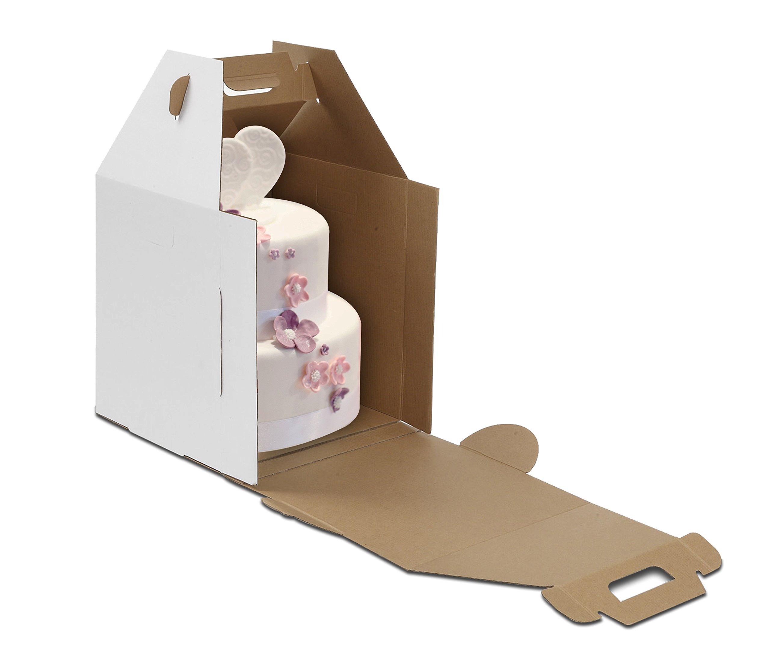 W PACKAGING WPTC1820WK 18x18x20 White/Kraft Plain Tiered Cake Box, No Window, Lock Corner, B-Flute (Pack of 10)