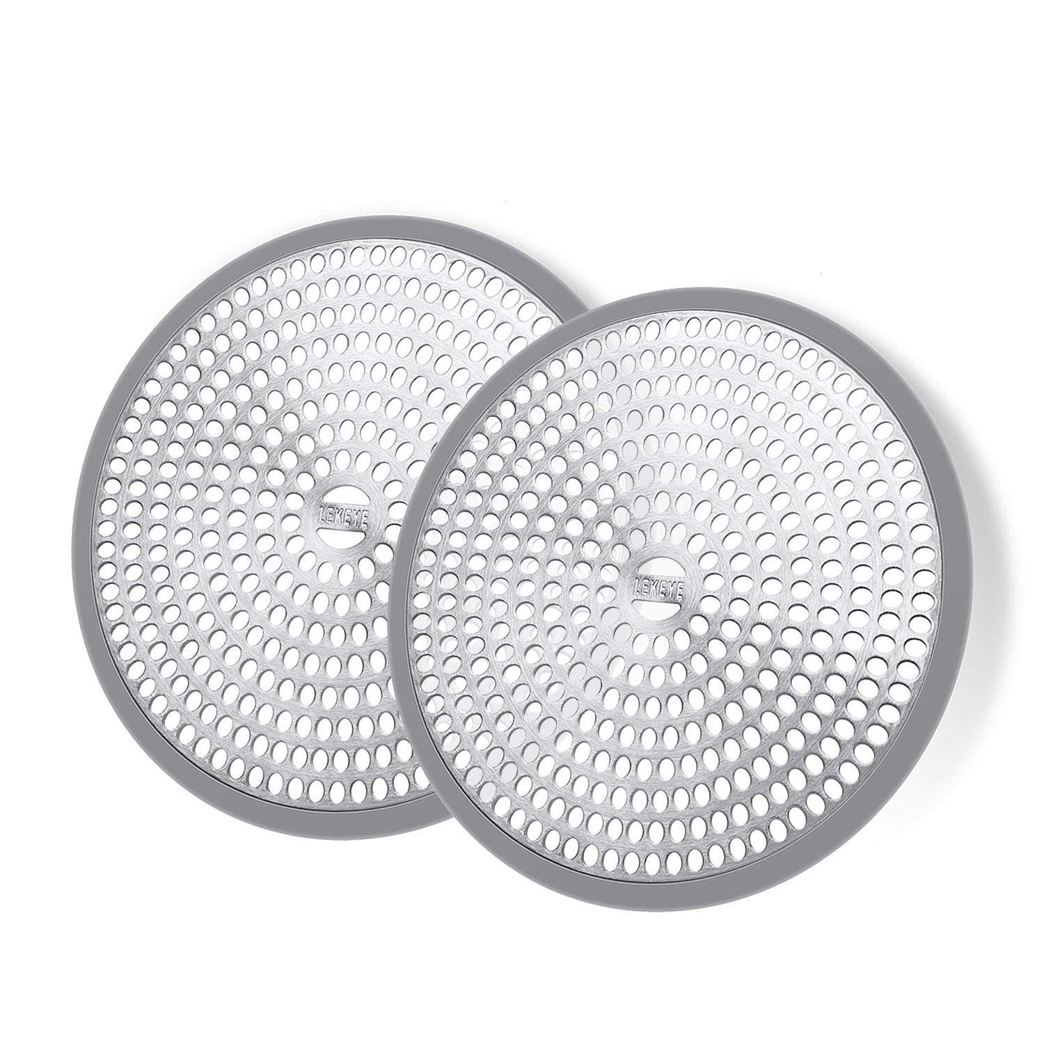 LEKEYE Shower Hair Catcher Drain Protector Strainer-Steel & Silicone 2 Pack…